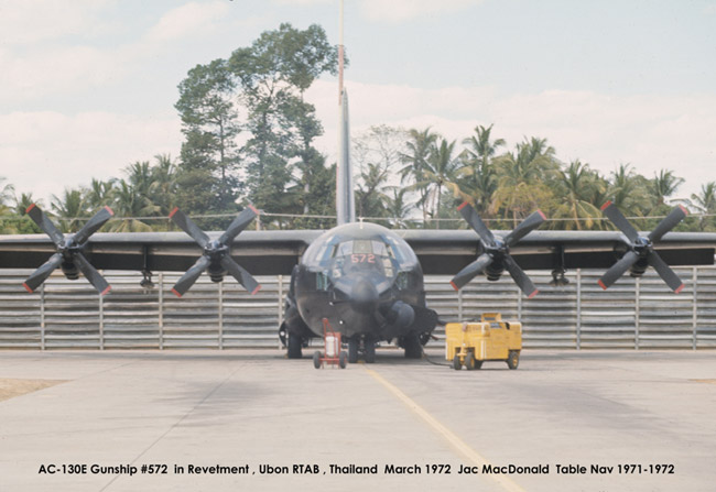 AC-130E Gunship #572 in reventment, Ubon RTAB, Thailand, March 1972